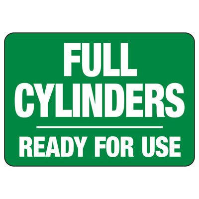 Cylinder Status Signs - Full Oxygen Cylinders Ready For Use