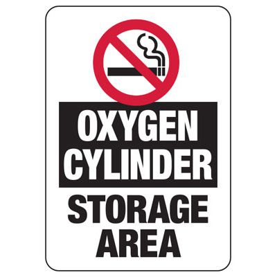 Cylinder Status Signs - Oxygen Cylinders Storage Area