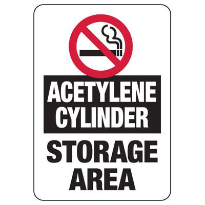 Cylinder Status Signs - Acetylene Cylinders Storage Area