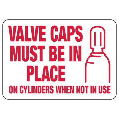 Cylinder Status Signs - Valve Caps Must Be In Place