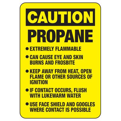Caution Propane Extremely Flammable - Industrial Cylinder Sign