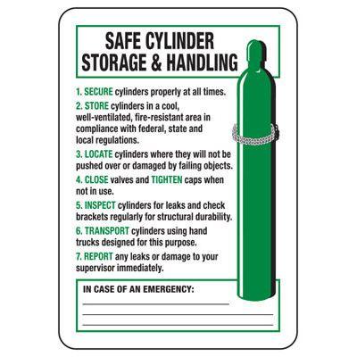 Safe Cylinder Storage Handling - Industrial Cylinder Sign