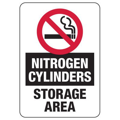 Nitrogen Cylinders (No Smoking Graphic) - Industrial Cylinder Sign