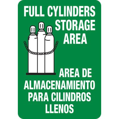 Bilingual Full Cylinder Storage Area - Industrial Cylinder Sign
