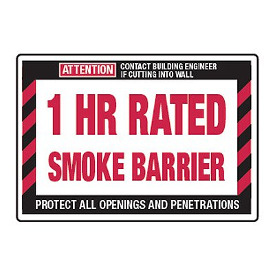 1 Hour Rated Smoke Barrier - Fire Wall Warning Signs