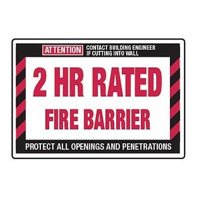 2 Hour Rated Fire Barrier - Fire Wall Warning Signs