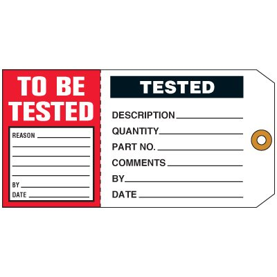 Tested /To Be Tested 2-in-1Status Tag