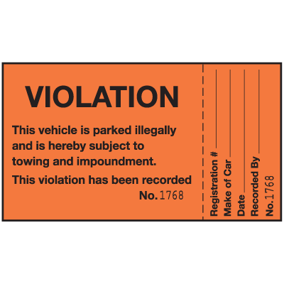 Violation This Vehicle Is Parked Illegally 2-Part Parking Violation Labels