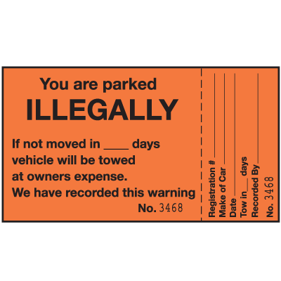 2-Part Parking Violation Labels - You Are Parked Illegally