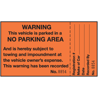 2-Part Parking Violation Labels - Warning No Parking Area