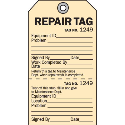 2-Part Production Status Tags - Repair Tag