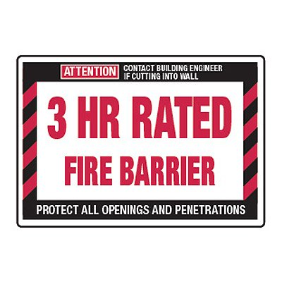 3 Hour Rated Fire Barrier - Fire Wall Warning Signs