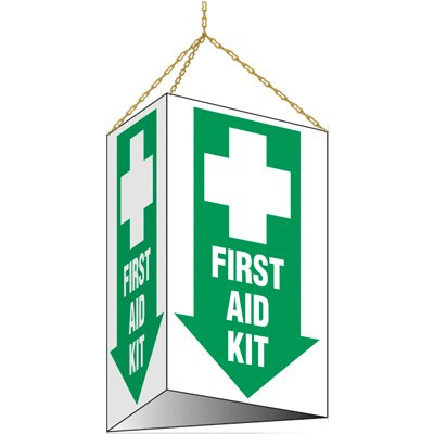 3-Sided Hanging First Aid Kit Sign