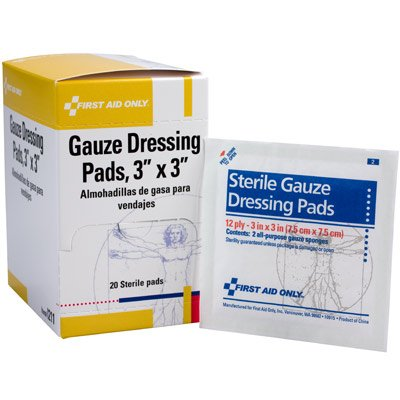 First Aid Only 3 x 3 Sterile Gauze Pads I211