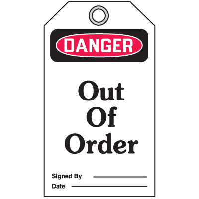 Accident Prevention Safety Tags - Danger Out Of Order