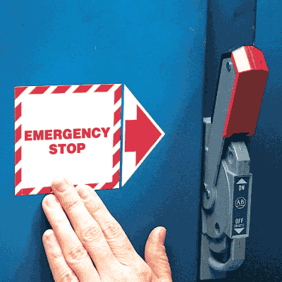 Add-An-Arrow Lockout Labels- Emergency Stop