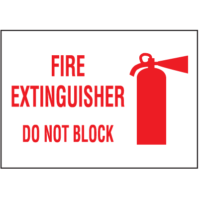 Fire Extingisher Do Not Block Self-Adhesive Vinyl Fire Equipment Signs