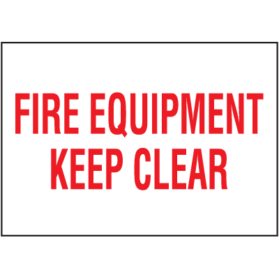 Fire Equipment Keep Clear Self-Adhesive Vinyl Fire Equipment Signs