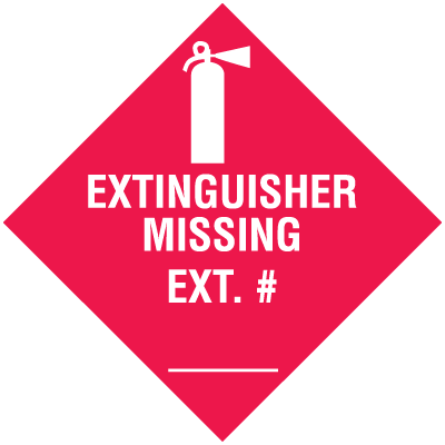 Extinguisher Missing Ext # (w/graphic) Self-Adhesive Vinyl Fire Equipment Sign