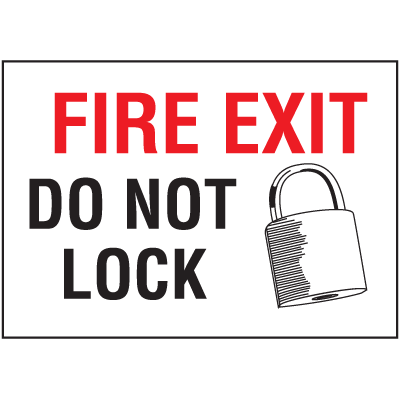 Fire Exit Do Not Lock Self-Adhesive Vinyl Fire Sign