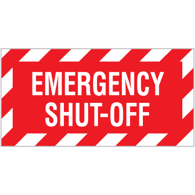 Emergency Shut-Off Self-Adhesive Vinyl Signs