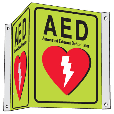 3-Way View Luminous AED Sign - Automated External Defibrillator
