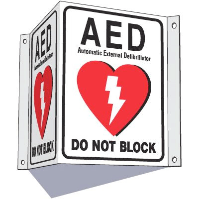 3-Way View AED Sign - Do Not Block
