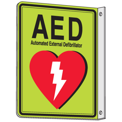 2-Way View Luminous AED Sign - Automated External Defibrillator
