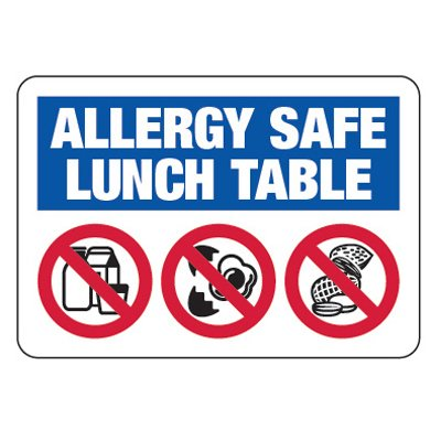 Allergy Safe Lunch Table No Nuts, Dairy, Eggs  - School Signs