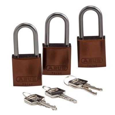 Brady Keyed Alike Aluminum One and Half inch Shackle Locks - Brown - Part Number - 123434 - 3/Pack