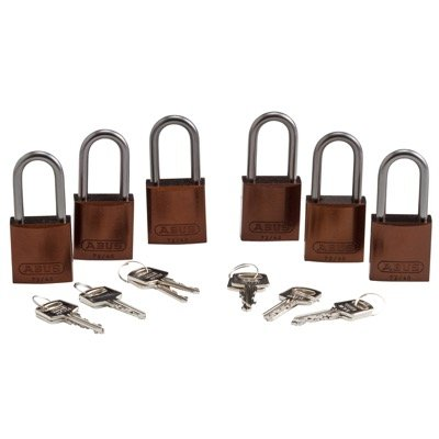 Brady Keyed Alike Aluminum One and Half inch Shackle Locks - Brown - Part Number - 123439 - 6/Pack