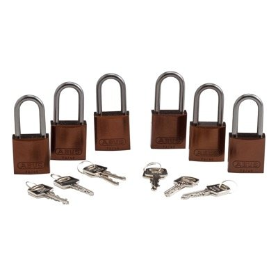 Brady Keyed Different Aluminum One and Half Inch Shackle Locks - Brown - Part Number - 104579 - 6/Pack