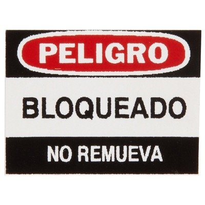 Brady Aluminum Padlock Label - Peligro Bloqueado No  - Part Number - 50292 - 6/Pack