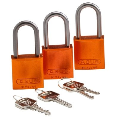Brady Keyed Alike Aluminum One and Half inch Shackle Locks - Orange - Part Number - 123432 - 3/Pack