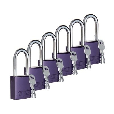 Brady Keyed Different Aluminum One and Half Inch Shackle Locks - Purple - Part Number - 104577 - 6/Pack