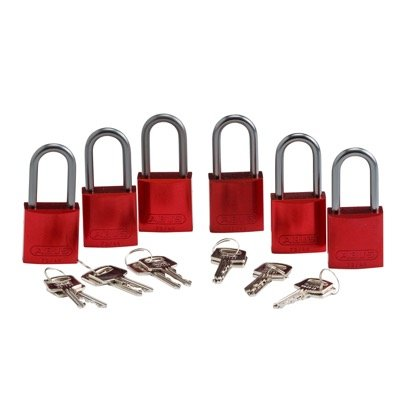 Brady Keyed Alike Aluminum One and Half inch Shackle Locks - Red - Part Number - 105882 - 6/Pack