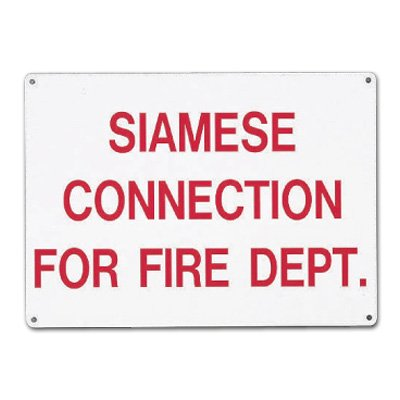 Siamese Connection For Fire Dept. Aluminum Sprinkler Control Sign