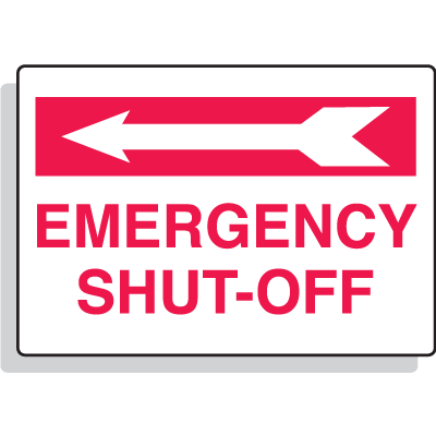 Emergency Shut-Off with Left Arrow Aluminum Sprinkler Control Sign