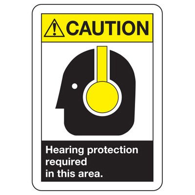 Caution Hearing Protection Required - ANSI Safety Signs