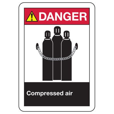 ANSI Safety Signs - Danger Compressed Air