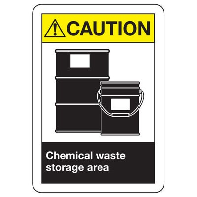 ANSI Safety Signs - Caution Chemical Waste Storage Area