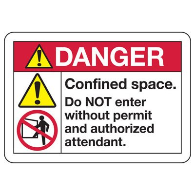 ANSI Z535 Safety Signs - Danger Confined Space Do Not Enter