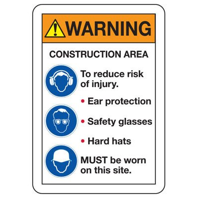 ANSI Z535 Safety Signs - Warning Construction Area Ear Protection