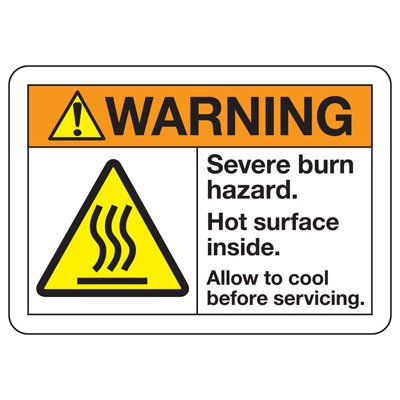 ANSI Z535 Safety Signs - Warning Severe Burn Hazard