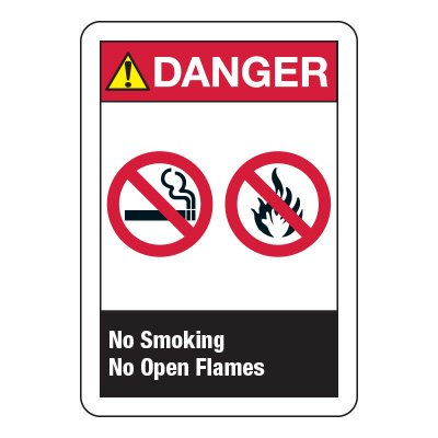 ANSI Z535 Safety Signs - No Smoking No Open Flames