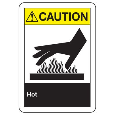 ANSI Z535 Safety Signs - Caution - Hot