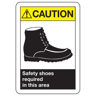 ANSI Z535 Safety Signs - Safety Shoes Required