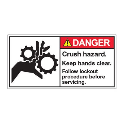 ANSI Z535 Safety Labels - Danger Crush Hazard Follow Lockout Procedure