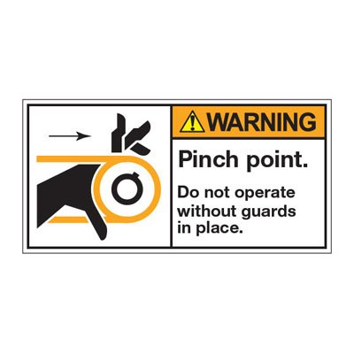 ANSI Z535 Safety Labels - Pinch Point Do Not Operate Without Guards