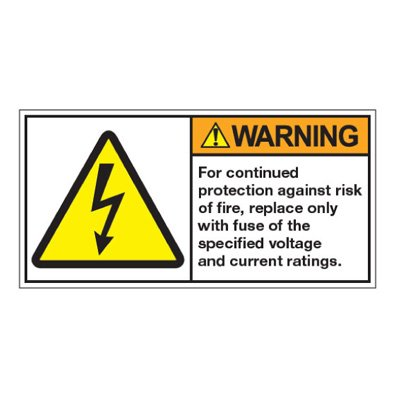 ANSI Z535 Safety Labels - Protection Against Risk of Fire